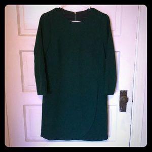J.Crew Emerald Green Overlapped Long-Sleeve Dress